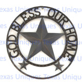 GOD BLESS OUR HOME Metal Star Rope Ring 24 Inch Wall Decor