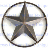 12 Inch Rustic Brown Metal Star Rope Ring Wall Decor
