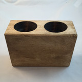 TWO (2) HOLE WOODEN MEXICAN SUGAR MOLD CANDLE HOLDER