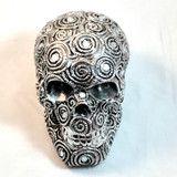 Tribal Silver Skull Figurine Statue Sculpture