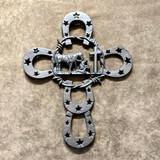 Rustic Horseshoe Wall Cowboy Church Cross