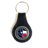 Texas Key Fob Lone Star State Black Leather