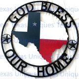 Texas Metal Art State Of Texas With Stars God Bless Our Home
