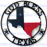 Texas Metal Art State Of Texas With Stars God Bless Texas