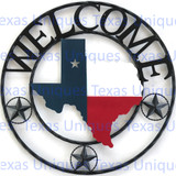 Texas Welcome Metal Art State Of Texas With Stars