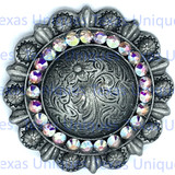 Crystal Berry Concho Antique Silver Plated 1-3/4 Inch
