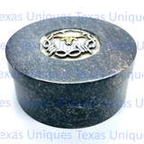 Soapstone Round Box Longhorn With Barbwire