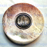 Soapstone Round Lidded Box With Feather Accent