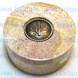 Decorative Soapstone Round Lidded Box With Saguaro Cactus Accent