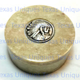 Soapstone Round Lidded Box With Indian Chief Accent