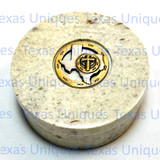 Decorative Soapstone Round Lidded Box With State Of Texas Accent