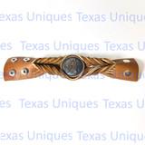 Copper Finish Feather Tan Leather Bracelet