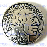 Enlarged Reproduction Coin Concho Nickel Indian Head 1-1/4 Inch
