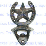 Wall Mount Bottle Opener Rustic Horseshoe and Star