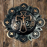 Western Christian Cross Berry Antique Copper Finish Cabinet Knob - Front View