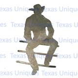 Cowboy On Fence Metal Art