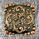 Yuma Square Concho Antique Copper Finish 1-1/2 Inch - Front View
