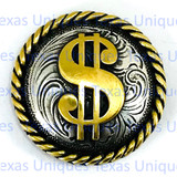 Western Dollar Floral Rope Edge 1-1/2 Inch Concho
