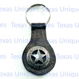 Texas Rangers Star Key Fob Brown Leather