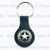 Texas Rangers Star Key Fob Black Leather