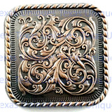 Florid Ornate Square 1-1/2-Inch Concho