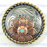 Floral Rope Edge Tri-Color 1-1/4 Inch Concho