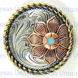 Floral Rope Edge Tri-Color 1-1/2 Inch Concho