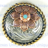 Floral Rope Edge Tri-Color 1-3/4 Inch Concho