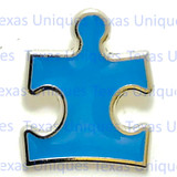 Autism Awareness Concho Puzzle Piece Blue With Silver