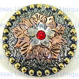 Flower Concho Silver With Red cabochon 1-3/4 Inch
