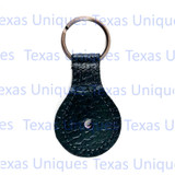 Black Leather Key Fob Copper Split ring
