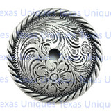 Floral Rope Edge Rosette 2-1/4 Inch Concho