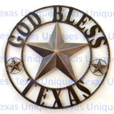 GOD BLESS TEXAS STAR METAL ART 25 Inch