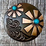 Antique Copper & Nickle Turquoise Cabochon 1 Inch Concho