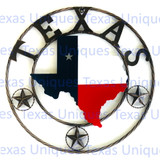 State Of Texas With Stars Metal Art Rope Style Trim