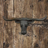 Texas Longhorn Rustic Finish Cabinet Knob or Drawer Pull - Front View