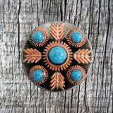Front image of the 1 inch Feather Turquoise Concho.