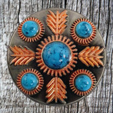 Front image of the 1.5 inch Turquoise Feather Concho.
