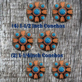 Turquoise Feather Concho Saddle Set 2 - (6) Conchos Front View
