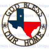 Texas Metal Art State Of Texas With Stars God Bless Our Home Rope Trim