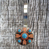 Turquoise Feather  Concho Shower Curtain Hooks