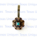 Los Alamos Antique Copper Finish Turquoise Concho Shower Curtain Hooks