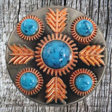 Turquoise Feather 1 Inch Concho