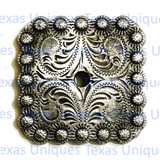 Engraved Antique Nickel Square Berry Concho