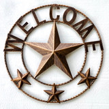WELCOME Metal Star Rope Ring 18 Inch Wall Decor