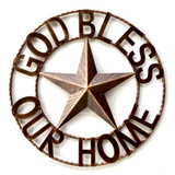 God Bless Our Home Metal Star Rope Ring Wall Decor