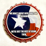 Texas Proud Decorative Metal Wall Hanging Bottle Cap