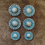 Turquoise Cabochons Berry Concho Saddle Set