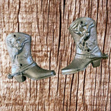 Western Rustic Cowboy Cast Iron Boot (Pair)