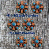 Turquoise Feather Concho Saddle Set 1 - Front View